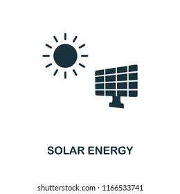 Solar Energy icon. Monochrome style design from power and energy collection. UI. Pixel perfect simple pictogram solar energy icon. Web design, apps, software, print usage.