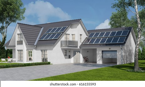 Solar energy system with photovoltaic solar cell panels on house roof (3D Rendering)