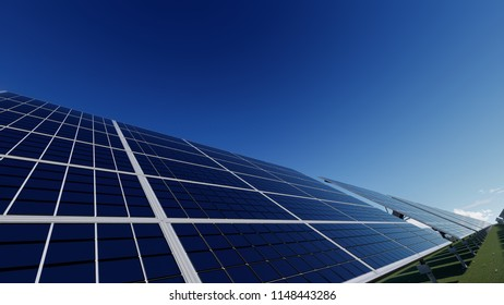Solar Farm on a Field in the Daytime 3d rendering