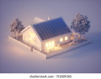 Solar House 3D Rendering