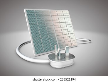 Solar panel with electrical plug connected to it. Concept for alternative power supply and green energy in a world where new energy sources are needed.
