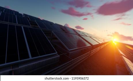 Solar Panel Farm under Dramatic Sky 3d rendering