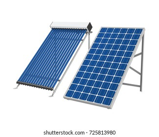 Solar Panel and Solar Heat Pipe Collector. 3D rendering