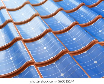 Solar panel integrates into the roof tiles. 3d illustration.