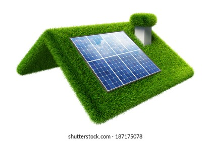 solar panel on grasss roof isolated on white. clipping path included