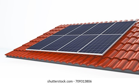 Solar panel on the roof tile,3d rendering