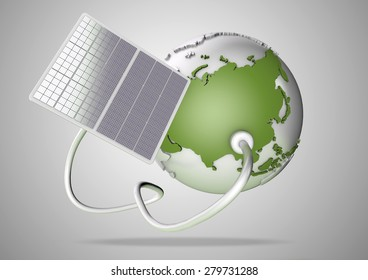 Solar panel supplies power from the sun to Asia. Concept for green power sources and energy supply to the world.