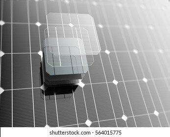 Solar panel, technology background. 3D illustration.