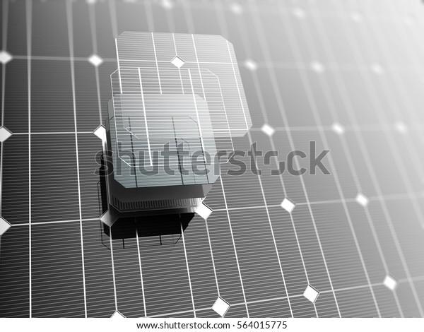 Panel solar, fondo tecnológico. Ilustración 3D.