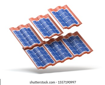 Solar panels integrated in roof tiles or shingles isolated on white background. 3d illustration