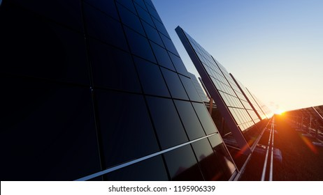Solar Panels from a Low Angle 3d rendering
