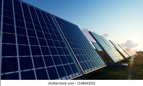 Solar Panels on the Green Fields Under Bright Sun 3d rendering