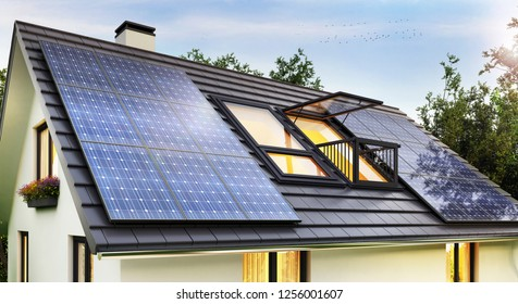 Solar panels on the roof of the modern house. 3D rendering