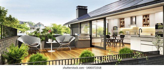 Solar panels on the roof of a modern house. Beautiful house with white kitchen, large windows and a terrace. 3d rendering