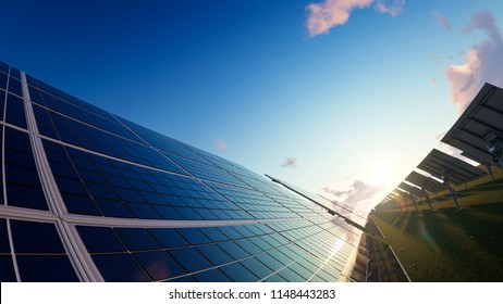 Solar Panels on a Sunny Day 3d rendering