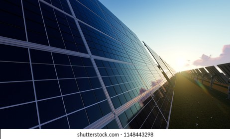 Solar Panels with Rectangular Cells Located Across the Field 3d rendering