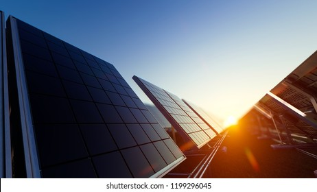 Solar Panels with a  Red Sun Above 3d rendering
