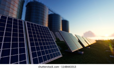 Solar Panels with Silos 3d rendering