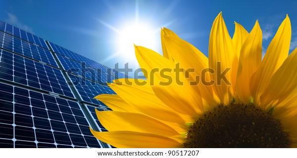 Sonnenkollektoren und Sonnenblumen auf sonnigem Himmel