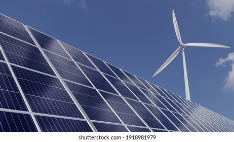 Solar panels and wind turbines to generate electricity And bright sky future energy - 3d render.