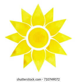 solar plexus chakra symbol concept, flower floral, watercolor painting color hand drawn icon logo, illustration design sign