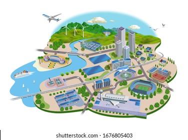 Solar power cityscape illustration, 3D artwork