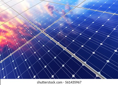 Solar power generation technology, alternative energy and environment protection ecology business concept: 3D render of solar battery panel modules against scenic sunset with blue sky with sun light