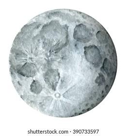 Solar System  - Earth Satellite - Moon. Watercolor illustration