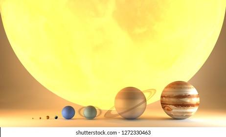 Planeten des Sonnensystems haben Durchmesser. Verhältnis der Magnituden. Elemente dieses Bildes werden von der NASA bereitgestellt. 3D-Rendering
