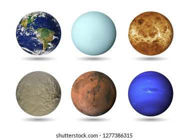 Solar system - Planets isolated on white background