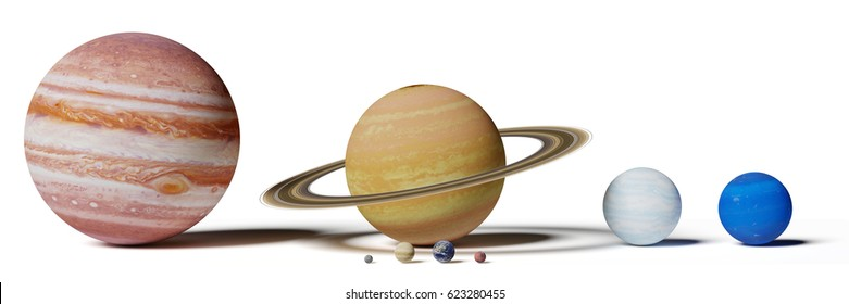 solar system planets, Mercury, Venus, Earth, Mars, Jupiter, Saturn, Uranus and Neptune size comparison isolated on white background (3d illustration, elements of this image are furnished by NASA)