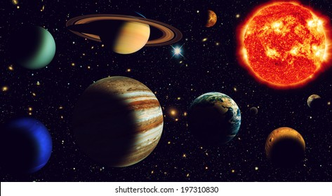 Solar system The sun and nine planets of our system orbiting Elements of this image furnished by NASA