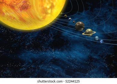 Solar system with sun and planets on orbits star field background
