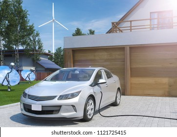 solar and wind energy charging electric car 3D illustration