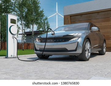 solar and wind energy charging electric car suv 3D illustration
