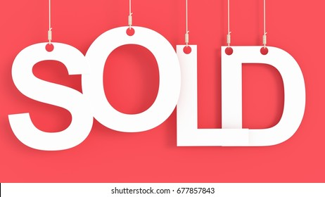 Sold hanging Letter over Red Background 3D rendering