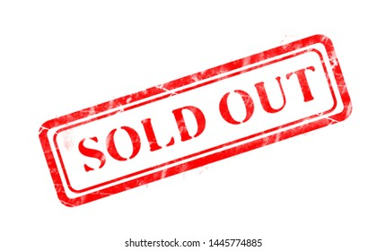 sold out seal stamp red text in box background
