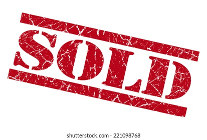 sold red grunge stamp isolated on white