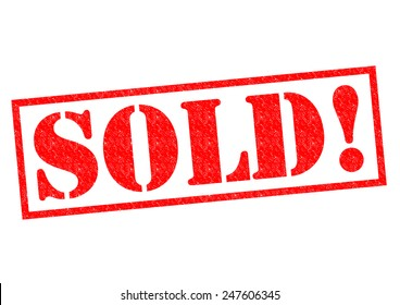 SOLD! red Rubber Stamp over a white background.