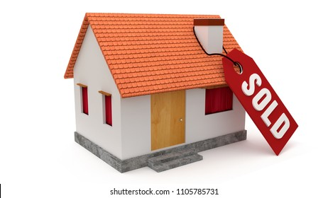 Sold tag in house isolated on white background. Made with 3d rendering...