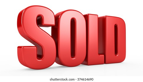 sold text 3d on white background.