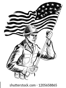 Soldier with an American flag. Ink black and white drawing