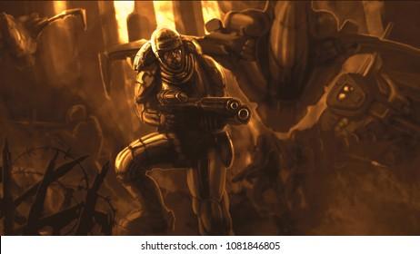 Soldier of the future in armor suit. Sci-fi illustration. Orange colors.