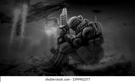 Soldier of future sits with large plasma gun in dark. Space ship launch from battlefield background. Science fiction character illustration. Black and white color.