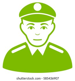 Soldier glyph icon. Flat eco green symbol. Pictogram is isolated on a white background. Designed for web and software interfaces.
