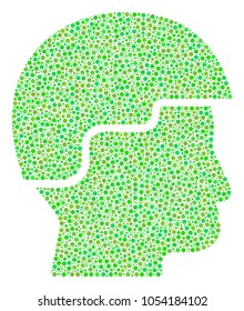 Soldier Helmet collage of dots in various sizes and green shades. Circle dots are combined into soldier helmet raster composition. Freshness raster design concept.