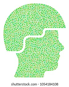 Soldier Helmet mosaic of round dots in different sizes and ecological green color tints. Circle dots are grouped into soldier helmet raster composition. Fresh raster design concept.