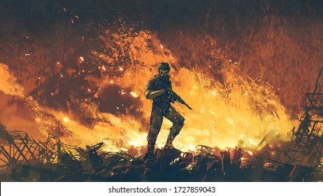 a soldier with his gun standing against fire background and looking at viewer, digital art style, illustration painting