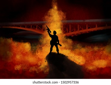 A soldier holding a gun and bottle stands in front of a burning bridge.  Fantasy concept artwork. Original digital illustration.