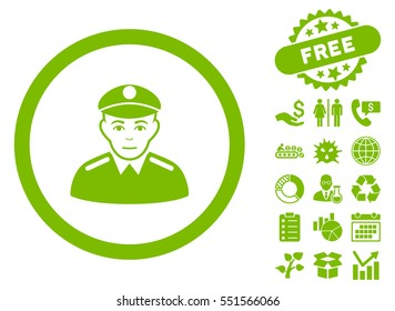 Soldier icon with free bonus pictures. Glyph illustration style is flat iconic symbols, eco green color, white background.